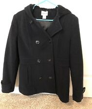 Womens St Johns Bay Black Peacoat Winter Coat Jacket Warm Hooded Size Medium M