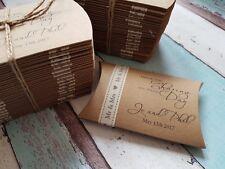 50 X Personalizado De Boda Favor Almohada Cajas/dulces, Mr&Mrs Cinta, gracias
