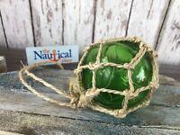 "3"" Green Glass Fishing Float ~ Fish Net Ball Buoy ~ Nautical Maritime Decor"