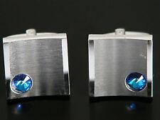 Vtg Sarah Cov Mid Century Modern Silver Tone Blue Jeweled CuffLinks Cuff Links