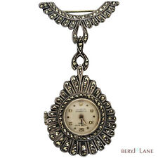 Vintage ART DECO Swiss Philippe Beguin Sterling Silver MARCASITE WATCH BROOCH