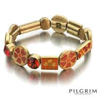 NEW PILGRIM GOLD PLATED BRACELET RED SWAROVSKI CRYSTALS ENAMEL FLOWERS FLEXIBLE