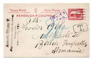 COLOMBIA: Postal stationery to Germany 1928, postage due.