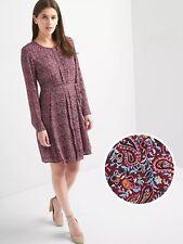 NWT Gap Paisley swing shirtdress, burgundy print SIZE S             #834202 E116