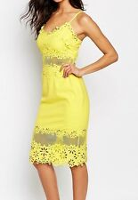 River Island Yellow Laser Cut Pencil Dress - UK 10