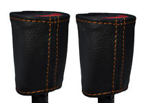 ORANGE STITCH 2X SEAT BELT STALK LEATHER SKIN COVERS FITS KIA SOUL 2009-2014
