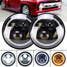 "For Ford F100 1969-1979 2pcs 7"" LED Headlights Halo DRL Hi/Lo Round Headlamps"