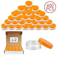 600PCS 10G/10ML Round Clear Cream Sample Jars Container with Orange Lid BPA free