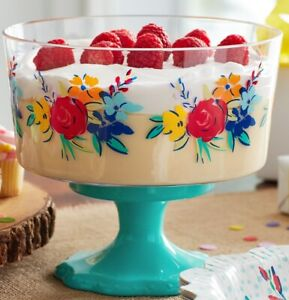 THE PIONEER WOMAN 47 OZ TRIFLE FOOTED ACRYLIC SNACK DESSERT BOWL NEW