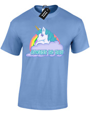 ALWAYS BE YOU MENS T-SHIRT THE FUNNY INTELLIGENCE ROCK UNICORN CENTRAL (COLOUR)