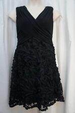 Patra Dress Sz 6 Solid Black Jersey Mesh Soutache Sleeveless Evening Cocktail