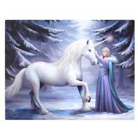 UNICORN & MAIDEN 'PURE MAGIC' CANVAS MYTHICAL PLAQUE BY ANNE STOKES WALL ART