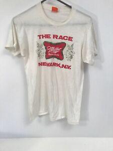 Vintage 80s Orange Screen Stars Miller High Life T-Shirt Size Large Men's White
