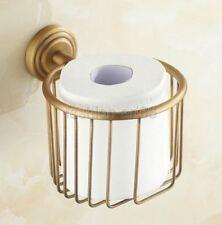 Antique Brass Wall mounted Bathroom Toilet Paper Holder Tissue Basket fba073