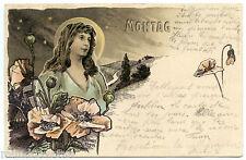 ARTIST SIGNED. H. FRüNDT. MONTAG. JOLIE FEMME. BEAUTIFUL WOMAN. ART NOUVEAU