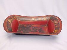 Antique 1800s Folk Art Toleware Bread Tray w Floral Decoration in Unusual Form