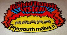 """VINTAGE PLYMOUTH THE RAPID TRANSIT SYSTEM 11 3/4"""" METAL CAR TRUCK GAS & OIL SIGN"""