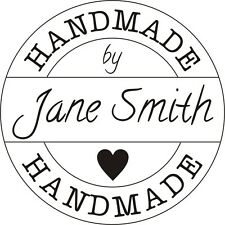 Bespoke Vintage Rubber Stamp (Handmade by 'Your Name') + FREE BLACK PAD