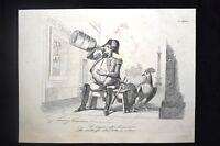 Incisione d'allegoria e satira Napoleone III Don Pirlone 1851