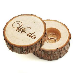 Wooden Ring Holder Case Gift Rustic Wedding Engagement Ring Box UK`