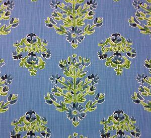 """BALLARD DESIGNS ELIZA CORNFLOWER BLUE MEDALLION FLORAL FABRIC 1.75 YARD 54""""W"""