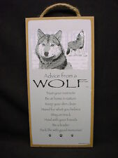 Advice From A Wolf Wolves wood Inspirational Sign wall Novelty Plaque animal Usa