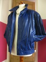 True Vintage M&S blue real leather JACKET UK 12 40 retro biker 1990s 1980s