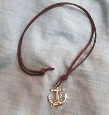 Mens SILVER TONE NAUTICAL ANCHOR on Brown LEATHER CORD Surfer Choker NECKLACE
