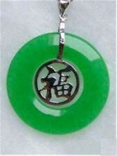 "925 Sterling Silver Chinese Fortune Word ""FU"" Heart Emerald Jade Circle Pendant"