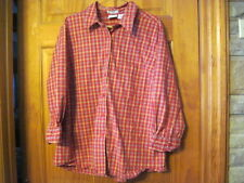 """Stretch Plus Red  Western Cowgirl Checkered Long Sleeved Shirt 18W  46"""" Chest"""