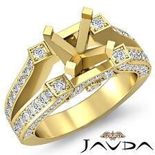 Wedding Diamond Pre-Set Ring 14k Yellow Gold Round Semi Mount 0.71Ct Split Shank