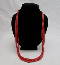 STUNNING RED MEDITERRANEAN CORAL NECKLACE 4 STRAND, BOUGHT 1978, NATIVE AMERICAN