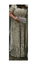 indian pakistani Asian wedding dress Bridal Lengha White Silver Size 18 - 20
