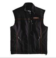 Harley-Davidson™ MotorClothes Men's Fleece Mid-Layer Vest Windproof, Black. Med.