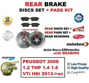 FOR PEUGEOT 2008 1.2 1.4 1.6 VTi HDi 2013->on REAR BRAKE PADS + DISCS + BEARING