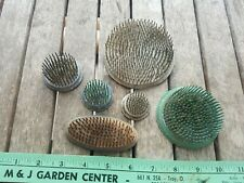 Lot of 6 Vintage Heavy Metal Flower Frogs  Oval Round