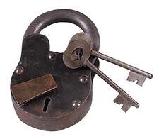 "Medium large treasure chest LOCK iron working w keys BIG 6""  padlock"