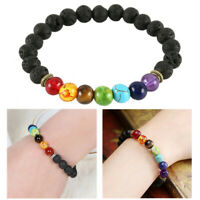 7 Chakra Stone Bracelet Men Women Black Lava Healing Balance Beads Reiki Anxiety