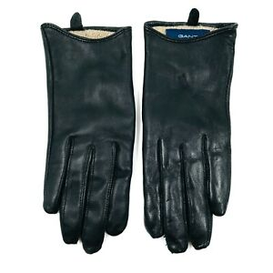 GANT Black 100% Leather and Wool Ladies Gloves Size S