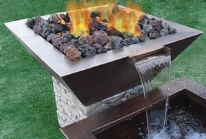 "HPC 40"" Sedona Square Copper Fire & Water Bowl Match Lit  -SEDO40W-MLFPK"