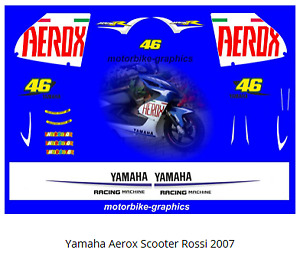 Yamaha Aerox Scooter Rossi 2007 scooter  full decal set