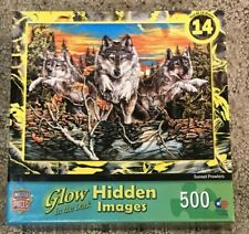Glow in the Dark Hidden Images Sunset Prowlers Jigsaw Puzzle 500 pcs *Free Ship*