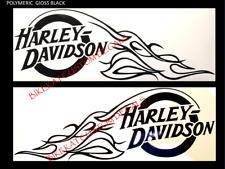 2 x 288mm  HARLEY DAVIDSON style Tank SKULL FLAMES decal sticker Chopper colours