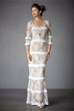 BHLDN Tracy Reese Esprit de Corps Wedding Gown Ivory Nude Lace Size 2 $2,200