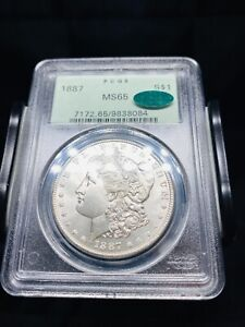 1887 Morgan Silver Dollar PCGS MS65 CAC OGH - Nice And White