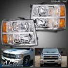 Fit For 07-13 Chevy Silverado 1500/2500/3500 Amber Headlights Chrome Replacement  for sale