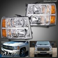 For 07-13 Chevy Silverado 1500/2500/3500 Amber Headlights Chrome Replacement