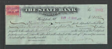1900 1901 THE STATE BANK WOODSTOCK ILL ANTIQUE CERTIFICATE OF DEPOSIT w/ REVENUE