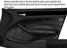 BLACK STITCHING 2X FRONT DOOR CARD TRIM SKIN COVER FITS BMW E46 SALOON 98-05