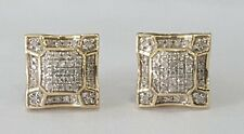10K Yellow Gold Diamond Studs Concave Kite Pave Mens Ladies Earrings 0.21 Ct